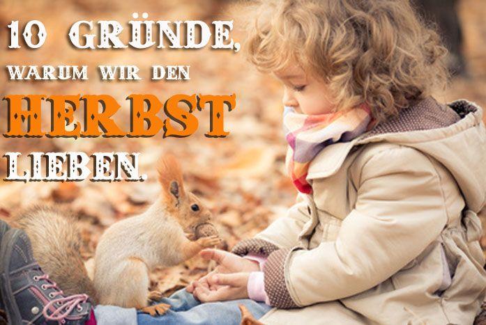 Kind, das Eichhörnchen im Herbstlaub füttert