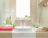 Waschbecken mit umliegender Badezimmer-Dekoration