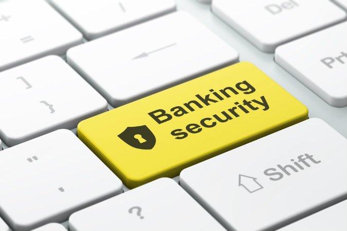 Banking Security Aufdruck auf Tastatur