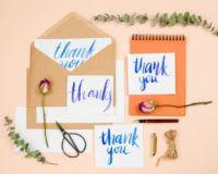 Handlettering Dankeskarten mit Deko