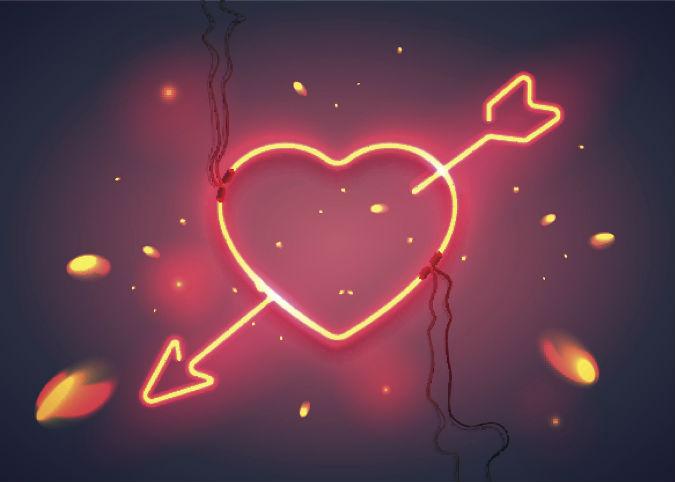 Leuchtschrift Herz durch das ein Amor Pfeil führt