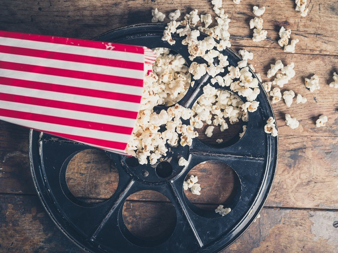 Filmrolle mit Popcorn
