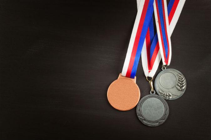 Gold, Silber und Bronzemedaille