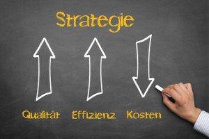 Drei Pfeile.Qualität und Effizienz zeigen hoch, Kosten werden gesenkt