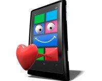 Windows Phone  gezeichnet mit Herz