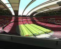 Leeres Fußballstadion in Europa bei sonnigem Wetter