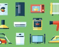 Haushaltsgeräte Übersicht auf grünem HIntergrund