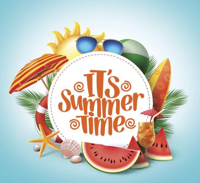 """Ein Banner mit dem Schriftzug """"It's Summer Time"""" und sommerlichen Utensilien drum herum"""