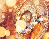 Prague Astronomical clock on Old Town Square, Famous tourist landmark with vintage retro tone effect and bokeh light