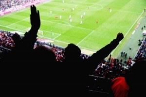 Blick von der Tribüne des Stadions auf das Spielfeld mit jubelnden Fans auf den Rängen